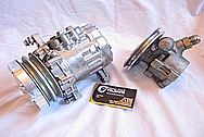 1967 Chevy Camaro V8 Aluminum AC Compressor BEFORE Chrome-Like Metal Polishing and Buffing Services