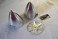 Model Airplane / Aircraft Spinner and Piece BEFORE Chrome-Like Metal Polishing and Buffing Services