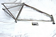 Lightweight Titanium Bicycle Frame AFTER Chrome-Like Metal Polishing and Buffing Services