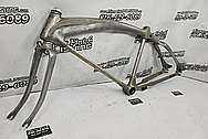 1932 Aluminum Vintage Bicycle Frame BEFORE Chrome-Like Metal Polishing and Buffing Services / Restoration Services - Aluminum Polishing - Bicycle Polishing - WITH GOUGES & NOSTALGIA LEFT IN