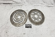 Harley Davidson Motorcycle Stainless Steel Brake Rotors BEFORE Chrome-Like Metal Polishing and Buffing Services / Restoration Services - Stainless Steel Polishing - Motorcycle Polishing