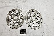 Steel Motorcycle Brake Rotors BEFORE Chrome-Like Metal Polishing - Steel Polishing