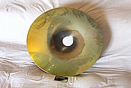 Brass Light Fixture Reflector BEFORE Chrome-Like Metal Polishing and Buffing Services