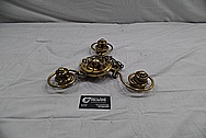 Brass Eagle Lantern Light Fixture and Chains BEFORE Chrome-Like Metal Polishing and Buffing Services / Restoration Services