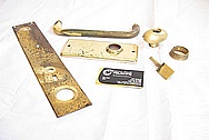 Brass Door Trim Pieces and Handle Set BEFORE Chrome-Like Metal Polishing and Buffing Services