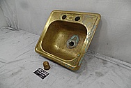 Brass Sink BEFORE Chrome-Like Metal Polishing - Brass Polishing Service