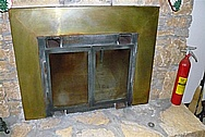 Brass Fireplace Trim BEFORE Chrome-Like Metal Polishing and Buffing Services
