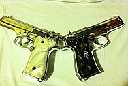 Twin Stainless Steel Beretta Gun Frames, Slidesm, Barrels and Magazines AFTER Chrome-Like Metal Polishing and Buffing Services