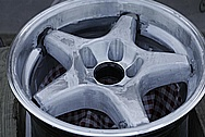 """Chevy 18"""" Aluminum Wheel BEFORE Chrome-Like Metal Polishing and Buffing Services"""