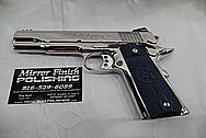 3 Blue Grip Colt Government Model .45 Caliber Guns / Pistols AFTER Chrome-Like Metal Polishing - Stainless Steel Polishing