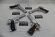 Colt Government Model .45 Caliber Guns / Pistols AFTER Chrome-Like Metal Polishing - Stainless Steel Polishing