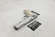 Stainless Steel Colt 1911 Gun AFTER Chrome-Like Metal Polishing and Buffing Services - Gun Polishing Services