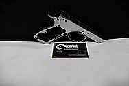 Stainless Steel CZ 75 D Compact Czech Republic 9mm Auto Gun / Pistol AFTER Chrome-Like Metal Polishing and Buffing Services / Restoration Services