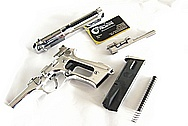 Beretta Stainless Steel Gun Slide, Hammer, Trigger, Frame, Barrel and Magazine AFTER Chrome-Like Metal Polishing and Buffing Services