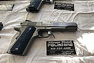 3 Blue Grip Colt Government Model .45 Caliber Guns / Pistols BEFORE Chrome-Like Metal Polishing - Stainless Steel Polishing