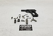 Stainless Steel Colt 1911 Gun BEFORE Chrome-Like Metal Polishing and Buffing Services - Gun Polishing Services