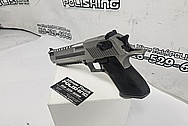 Desert Eagle 50 Caliber Stainless Steel Semi - Auto Gun / Pistol BEFORE Chrome-Like Metal Polishing and Buffing Services - Stainless Steel Polishing - Gun Polishing - Custom Gold Look Coating - Titanium Nitride Coating