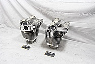 Harley Davidson Motorcycle S&S Engine Cylinders and Cylinder Heads AFTER Chrome-Like Metal Polishing and Buffing Services / Resoration Services