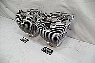 Harley Davidson Aluminum Cylinder Heads and Cylinders AFTER Chrome-Like Metal Polishing and Buffing Services - Aluminum Polishing