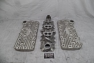 Edelbrock Flat Head V8 Cylinder Heads BEFORE Chrome-Like Metal Polishing - Aluminum Polishing