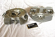 Harley Davidson Panhead Aluminum Motorcycle Engine Cylinder Heads BEFORE Chrome-Like Metal Polishing and Buffing Services Plus Custom Painting Services