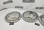 Chevy Cadillac Stainless Steel Hubcaps AFTER Chrome-Like Metal Polishing - Stainless Steel Polishing