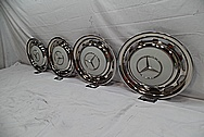 Aluminum Mercedez Benz Stainless Steel Hubcaps AFTER Chrome-Like Metal Polishing and Buffing Services / Restoration Services