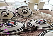 Vintage 1930's Cadillac Lasalle Stainless Steel Hubcaps / Wheel Covers AFTER Chrome-Like Metal Polishing and Buffing Services / Restoration Services PLUS Custom Painting Services - Wheel Cover Polishing