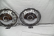 1967 Cadillac Eldorado Stainless Steel Hubcaps BEFORE Chrome-Like Metal Polishing and Buffing Services - Stainless Steel Polishing