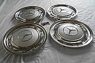 Mercedes Benz Stainless Steel Hubcaps BEFORE Chrome-Like Metal Polishing - Stainless Steel Polishing