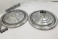 Chevy Cadillac Stainless Steel Hubcaps BEFORE Chrome-Like Metal Polishing - Stainless Steel Polishing
