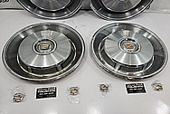 1966 Cadillac Stainless Steel Hubcaps BEFORE Chrome-Like Metal Polishing and Buffing Services - Stainless Steel Polishing - Hubcap Polishing