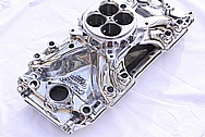 Edelbrock Chevy Aluminum Intake Manifold AFTER Chrome-Like Metal Polishing and Buffing Services