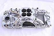 Edelbrock Chevy V8 Aluminum Intake Manifold AFTER Chrome-Like Metal Polishing and Buffing Services