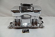 Edelbrock Aluminum Rough Cast V8 Engine Intake Manifold AFTER Chrome-Like Metal Polishing and Buffing Services / Restoration Services