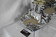 Aluminum Tri Power Intake Manifold and Carburetors AFTER Chrome-Like Metal Polishing - Aluminum Polishing