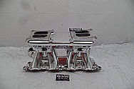 Offenhauser Aluminum V8 Intake Manifold AFTER Chrome-Like Metal Polishing and Buffing Services - Aluminum Polishing