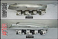 BEFORE AND AFTER Chrome-Like Metal Polishing - Aluminum Intake Manifold Polishing