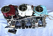 1965 Pontiac GTO Tri Power Cast Iron Intake Manifold and Carbs AFTER Chrome-Like Metal Polishing and Buffing Services Plus Painting Services