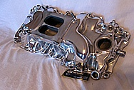 Aluminum GM V8 Intake Manifold AFTER Chrome-Like Metal Polishing and Buffing Services Plus Painting Services