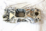 Aluminum Edelbrock Victor V8 Intake Manifold AFTER Chrome-Like Metal Polishing and Buffing Services Plus Painting Services