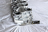 Inglese V8 Aluminum Intake Manifold AFTER Chrome-Like Metal Polishing and Buffing Services / Restoration Services with Center Left Untouched Per Customer Request