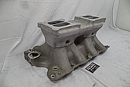 Offenhauser Aluminum V8 Intake Manifold BEFORE Chrome-Like Metal Polishing and Buffing Services - Aluminum Polishing
