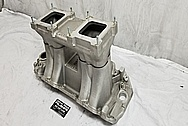 Weiand AluminumV8 Intake Manifold BEFORE Chrome-Like Metal Polishing and Buffing Services - Aluminum Polishing Services