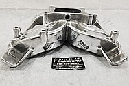 Aluminum V8 Intake Manifold BEFORE Chrome-Like Metal Polishing and Buffing Services - Aluminum Polishing