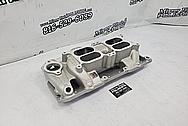Edelbrock Aluminum V8 Intake Manifold and Carburetors BEFORE Chrome-Like Metal Polishing and Buffing Services / Restoration Services - Aluminum Polishing
