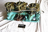 1965 Pontiac GTO Tri Power Cast Iron Intake Manifold and Carbs BEFORE Chrome-Like Metal Polishing and Buffing Services Plus Painting Services