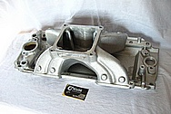 Aluminum Edelbrock Victor V8 Intake Manifold BEFORE Chrome-Like Metal Polishing and Buffing Services Plus Painting Services