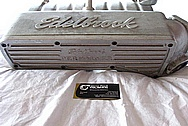 Edelbrock Aluminum Intake Manifold Cover BEFORE Chrome-Like Metal Polishing and Buffing Services / Restoration Services Plus Painting Services