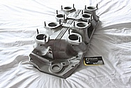 Inglese V8 Aluminum Intake Manifold BEFORE Chrome-Like Metal Polishing and Buffing Services / Restoration Services with Center Left Untouched Per Customer Request